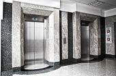 pic of elevator  - Two elevators in the office building - JPG