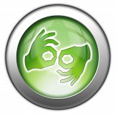 picture of nonverbal  - Icon Button Pictogram with Sign Language symbol - JPG