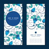 stock photo of swirly  - Vector blue green swirly flowers vertical round frame pattern invitation greeting cards set graphic design - JPG
