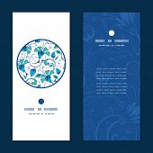 picture of swirly  - Vector blue green swirly flowers vertical round frame pattern invitation greeting cards set graphic design - JPG
