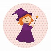 stock photo of witch  - Witch Cartoon Theme Elements - JPG