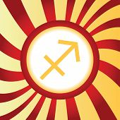 pic of sagittarius  - Yellow icon with zodiac Sagittarius symbol - JPG