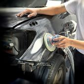 picture of car repair shop  - Car body work auto repair paint after the accident - JPG