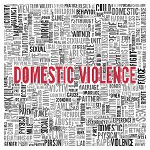 picture of domestic violence  - Close up DOMESTIC VIOLENCE Text at the Center of Word Tag Cloud on White Background - JPG
