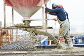 foto of concrete pouring  - concreting work - JPG