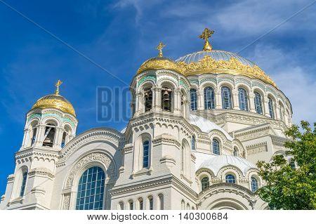 The Naval cathedral of Saint Nicholas in Kronstadt, Saint-Petersburg, Russia. It\'s Orthodox cathedra