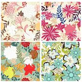 Seamless vector floral pattern set. For easy making seamless pattern just drag all group into swatch