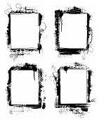 image of smut  - set of grunge frames or borders on white background - JPG