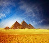 picture of the great pyramids  - Great pyramids in Giza valley - JPG