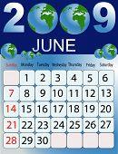 Calendars, New Year 2009, June, globe