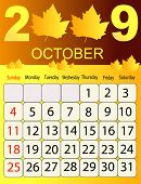 Calendars, New Year 2009, October, yellow leaves