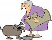 foto of bag-of-dog-food  - This illustration depicts an old woman feeding a dog from a large bag - JPG