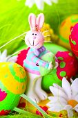 Easter Bunny And Painted Eggs