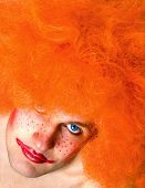 Red Haired Angry Man With A Clown Make-Up