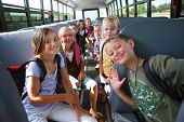 Elementary school students on school bus