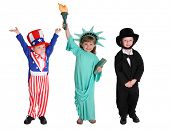 Kids dressed up like American characters