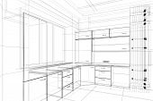 stock photo of interior sketch  - abstract 3D design sketch of kitchen interior - JPG