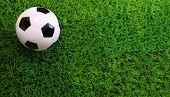 Closeup of soccer ball on green grass