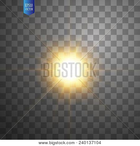 poster of White Glowing Light Burst Explosion On Transparent Background. Vector Illustration Light Effect Deco