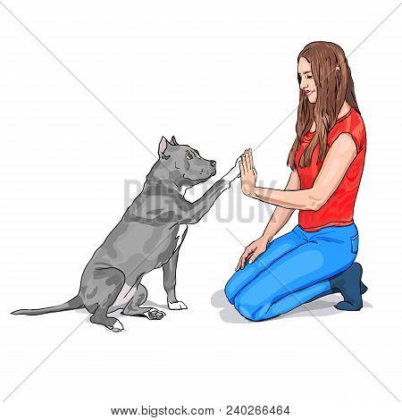 poster of Dog and girl are giving a high five isolated on white background. Dog and girl are friends. The owner and Staffordshire terrier dog are playing. Vector illustration. Purebred Dog sitting with a girl. Dog raised a paw like give me five gesture.