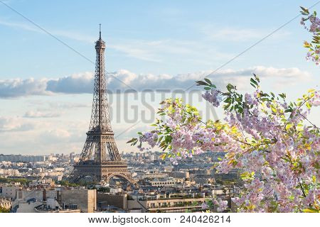 poster of Famous Eiffel Tower And Paris Roofs At Spring, Paris France
