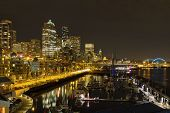 Seattle Downtown Waterfront Skyline At Night Reflection