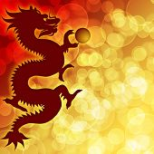 Happy Chinese New Year Dragon With Blurred Background