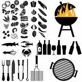Grill, Barbecue Icon Set On White Background. Grilled Vegetables, Meat, Steak And Sausage. Bbq Grill poster