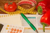Measure Tape And Fresh Fruit. Healthy Lifestyle Diet With Fresh Fruits. Low-calorie Fruit Diet. Diet poster
