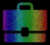 Pixelated Colorful Halftone Case Icon Using Rainbow Color Shades With Horizontal Gradient On A Black poster