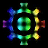 Dotted Impressive Halftone Cogwheel Icon Drawn With Spectral Color Shades With Horizontal Gradient O poster