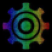 Dot Colorful Halftone Cogwheel Icon Using Rainbow Color Tinges With Horizontal Gradient On A Black B poster