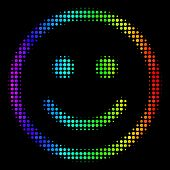 Dotted Impressive Halftone Glad Smiley Icon Using Rainbow Color Tints With Horizontal Gradient On A  poster