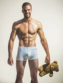 Naked, Satisfied, Sexy, Attractive Gay With Muscular Torso Holds Teddy Bear. Sexy, Charming, Romanti poster