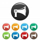 Single Megaphone Icon. Simple Illustration Of Single Megaphone Vector Icons Set Color Isolated On Wh poster