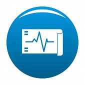 Electrocardiogram Icon. Simple Illustration Of Electrocardiogram Vector Icon For Any Design Blue poster