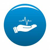 Heartbeat Icon. Simple Illustration Of Heartbeat Vector Icon For Any Design Blue poster