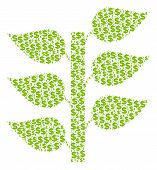 Flora Plant Collage Of Dollars And Round Spots. Vector Banking Pictograms Are Organized Into Flora P poster