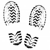Footprint, Silhouette Vector. Shoe Soles Print. Foot Print Tread, Boots, Sneakers. Impression Icon poster