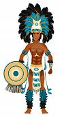 picture of loin cloth  - Vector Illustration of an Aztec man in Costume for Carnival Halloween or Thanksgiving - JPG