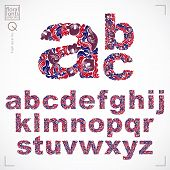 Ecology Style Flowery Font, Vector Typeset Made Using Natural Ornament. Colorful Alphabet Lowercase  poster