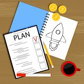Plan And Invest In Startup. Investment In Business Idea, Plan And Management, Start Project, Plannin poster