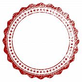 Rosette Circular Star Frame Distress Textured Template. Vector Draft Element With Grainy Design And  poster