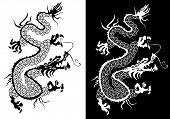 Black And White Chinese Dragon Vector.