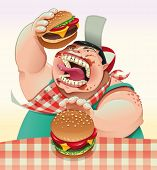 Boy with hamburgers. Cartoon and vector illustration.