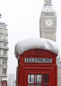 Red telephones near Big Ben