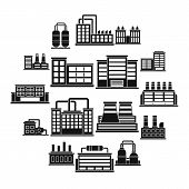 Industrial Building Factory Icons Set. Simple Illustration Of 16 Industrial Building Factory Vector  poster