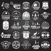 Set Of Fitness And Tennis Club Concept With Girls Doing Exercise And Tennis Player Silhouette. Vecto poster