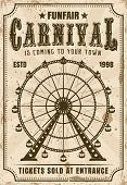 Carnival Vector Invitation Poster In Retro Style With Ferris Wheel For Advertisement Amusement Parks poster