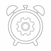 Alarm Clock Icon. Clockwork Symbol. Outline. Vector. poster